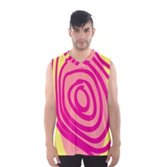 Doodle Shapes Large Line Circle Pink Red Yellow Men s Basketball Tank Top