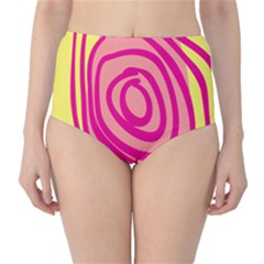 Doodle Shapes Large Line Circle Pink Red Yellow High-Waist Bikini Bottoms