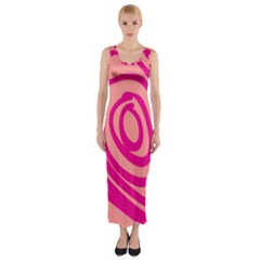Doodle Shapes Large Line Circle Pink Red Yellow Fitted Maxi Dress