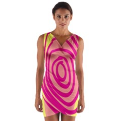 Doodle Shapes Large Line Circle Pink Red Yellow Wrap Front Bodycon Dress