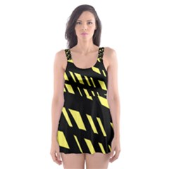 Doodle Shapes Large Scratched Included Skater Dress Swimsuit