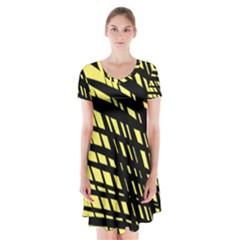 Doodle Shapes Large Scratched Included Short Sleeve V Neck Flare Dress