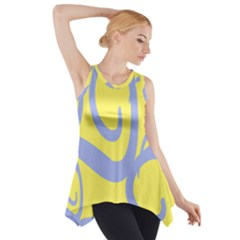 Doodle Shapes Large Waves Grey Yellow Chevron Side Drop Tank Tunic