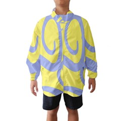 Doodle Shapes Large Waves Grey Yellow Chevron Wind Breaker (Kids)