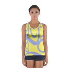 Doodle Shapes Large Waves Grey Yellow Chevron Women s Sport Tank Top