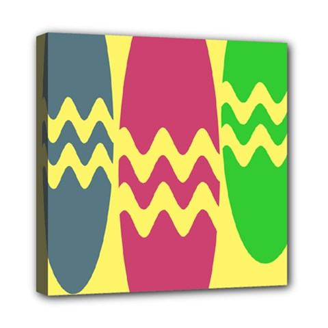 Easter Egg Shapes Large Wave Green Pink Blue Yellow Mini Canvas 8  X 8
