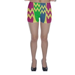 Easter Egg Shapes Large Wave Green Pink Blue Yellow Skinny Shorts