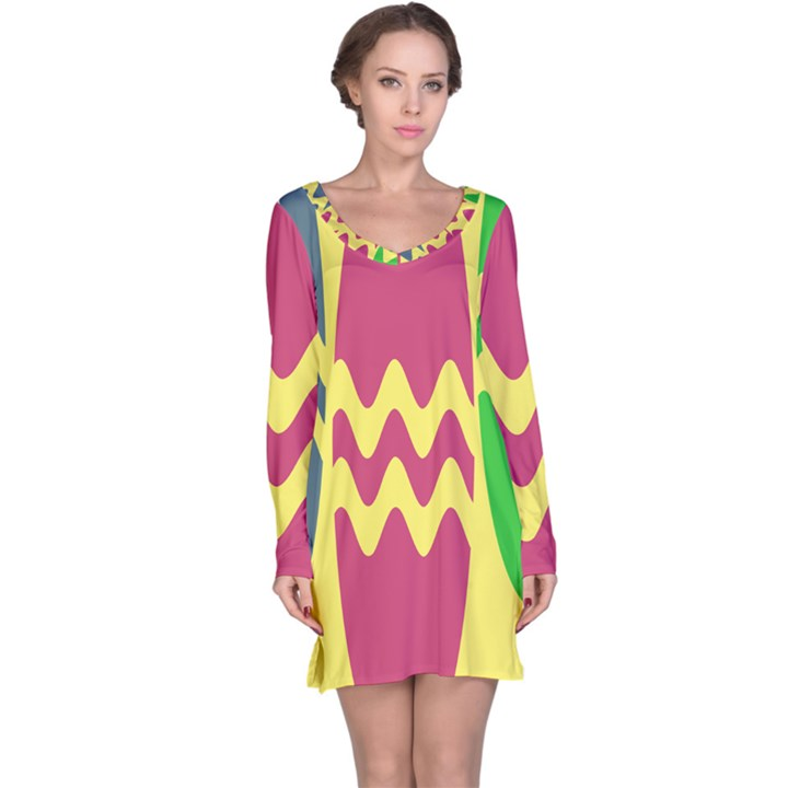 Easter Egg Shapes Large Wave Green Pink Blue Yellow Long Sleeve Nightdress