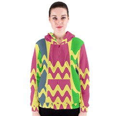 Easter Egg Shapes Large Wave Green Pink Blue Yellow Women s Zipper Hoodie