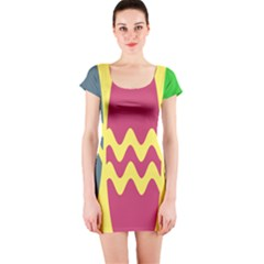 Easter Egg Shapes Large Wave Green Pink Blue Yellow Short Sleeve Bodycon Dress