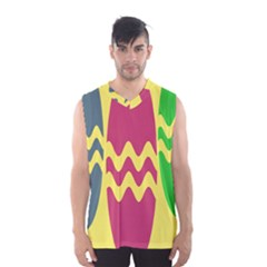 Easter Egg Shapes Large Wave Green Pink Blue Yellow Men s Basketball Tank Top
