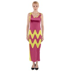 Easter Egg Shapes Large Wave Green Pink Blue Yellow Fitted Maxi Dress