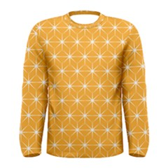 Yellow Stars Light White Orange Men s Long Sleeve Tee