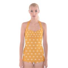 Yellow Stars Light White Orange Boyleg Halter Swimsuit