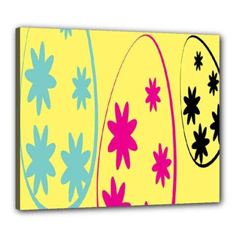 Easter Egg Shapes Large Wave Green Pink Blue Yellow Black Floral Star Canvas 24  X 20