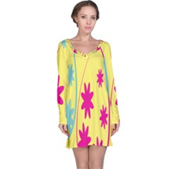 Easter Egg Shapes Large Wave Green Pink Blue Yellow Black Floral Star Long Sleeve Nightdress