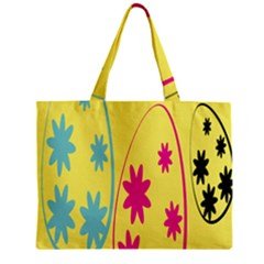 Easter Egg Shapes Large Wave Green Pink Blue Yellow Black Floral Star Zipper Mini Tote Bag