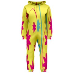Easter Egg Shapes Large Wave Green Pink Blue Yellow Black Floral Star Hooded Jumpsuit (Ladies)