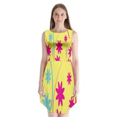 Easter Egg Shapes Large Wave Green Pink Blue Yellow Black Floral Star Sleeveless Chiffon Dress