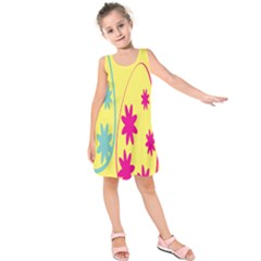 Easter Egg Shapes Large Wave Green Pink Blue Yellow Black Floral Star Kids  Sleeveless Dress