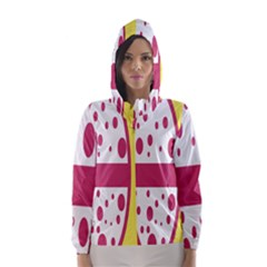 Easter Egg Shapes Large Wave Pink Yellow Circle Dalmation Hooded Wind Breaker (Women)