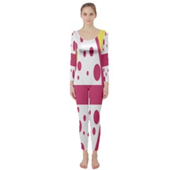 Easter Egg Shapes Large Wave Pink Yellow Circle Dalmation Long Sleeve Catsuit