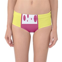Easter Egg Shapes Large Wave Pink Yellow Circle Dalmation Mid-Waist Bikini Bottoms