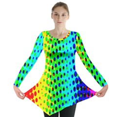 Comic Strip Dots Circle Rainbow Long Sleeve Tunic
