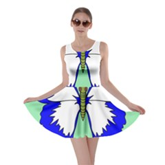 Draw Butterfly Green Blue White Fly Animals Skater Dress