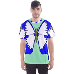 Draw Butterfly Green Blue White Fly Animals Men s Sport Mesh Tee