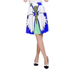 Draw Butterfly Green Blue White Fly Animals A-Line Skirt