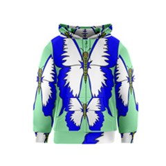 Draw Butterfly Green Blue White Fly Animals Kids  Zipper Hoodie