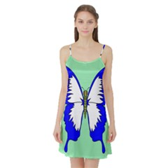 Draw Butterfly Green Blue White Fly Animals Satin Night Slip