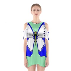Draw Butterfly Green Blue White Fly Animals Shoulder Cutout One Piece