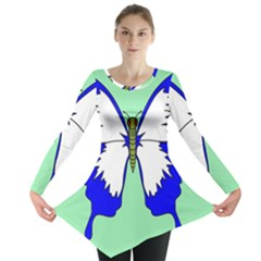 Draw Butterfly Green Blue White Fly Animals Long Sleeve Tunic