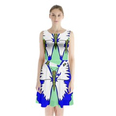 Draw Butterfly Green Blue White Fly Animals Sleeveless Chiffon Waist Tie Dress