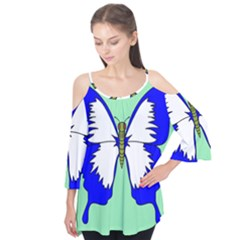 Draw Butterfly Green Blue White Fly Animals Flutter Tees