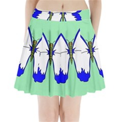 Draw Butterfly Green Blue White Fly Animals Pleated Mini Skirt