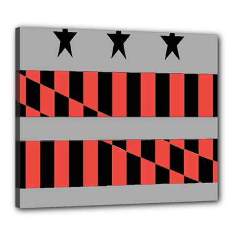 Falg Sign Star Line Black Red Canvas 24  x 20