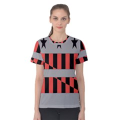 Falg Sign Star Line Black Red Women s Cotton Tee
