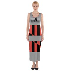 Falg Sign Star Line Black Red Fitted Maxi Dress