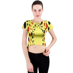 Gradients Dalmations Black Orange Yellow Crew Neck Crop Top
