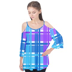 Gingham Pattern Blue Purple Shades Sheath Flutter Tees