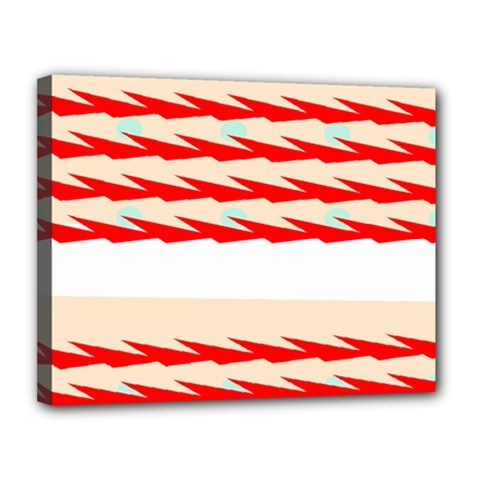 Chevron Wave Triangle Red White Circle Blue Canvas 14  x 11
