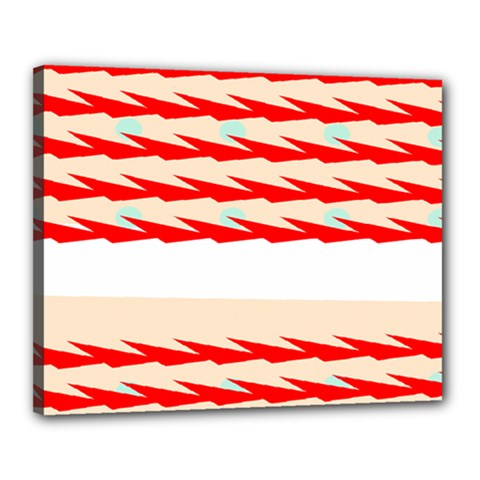 Chevron Wave Triangle Red White Circle Blue Canvas 20  x 16