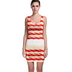 Chevron Wave Triangle Red White Circle Blue Sleeveless Bodycon Dress