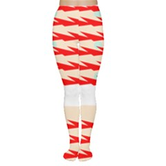 Chevron Wave Triangle Red White Circle Blue Women s Tights