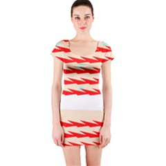Chevron Wave Triangle Red White Circle Blue Short Sleeve Bodycon Dress