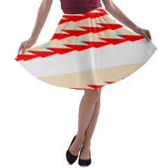 Chevron Wave Triangle Red White Circle Blue A-line Skater Skirt