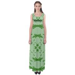 Green Hole Empire Waist Maxi Dress